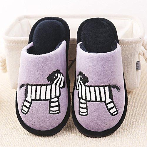 De Invierno Casa Piso Zapatillas Zebra Amantes Hombres Algodón Antideslizante hui Violet Algodón Mopa Y v1xEBwx