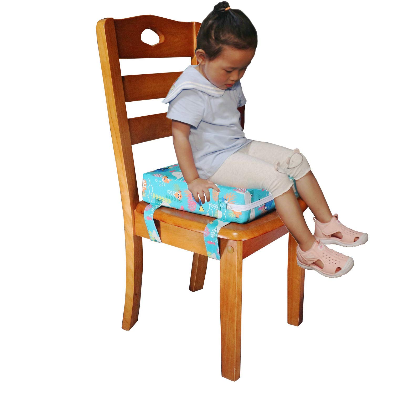 Dinosaur simpletome Chair Booster Seat Cushion Pad for Big Kids with 4 Safety Fixing Straps