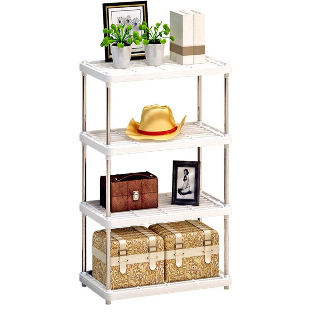 Storage Rack,AIYoo 4-Tier Stainless Steel Heavy Duty Storage Shelves Large Display Rack,Standing Shelving Units Bookshelf Kitchen Bathroom Organizer Shelf Storage Rack,White