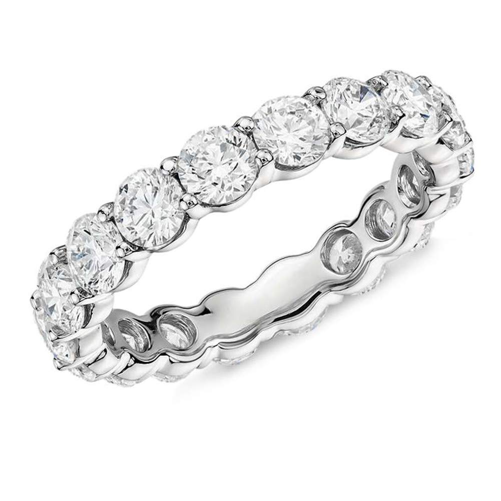 Erllo 925 Sterling Silver Ring 4mm Round Cut Cubic Zirconia CZ Eternity Engagement Wedding Band Ring (7.5) by Erllo