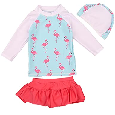 1953bad7cc Image Unavailable. Image not available for. Color: Little Girls Kids 2  Pieces Long-Sleeve Flamingo Swimwear Rash Guard UPF 50+ UV