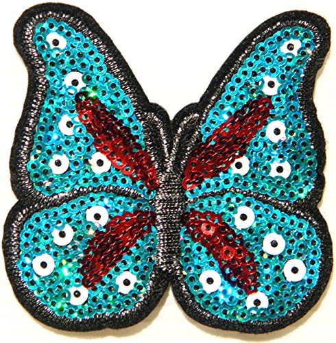 Butterfly Animal Sparkly Sequin Shine Shiny Blink Patch Sew Iron on Embroidered Applique Craft Handmade Baby Kid Girl Women Sexy Lady Hip Hop Cloths Jacket T shirt Dress DIY Decorative - Prada T-shirt Polo