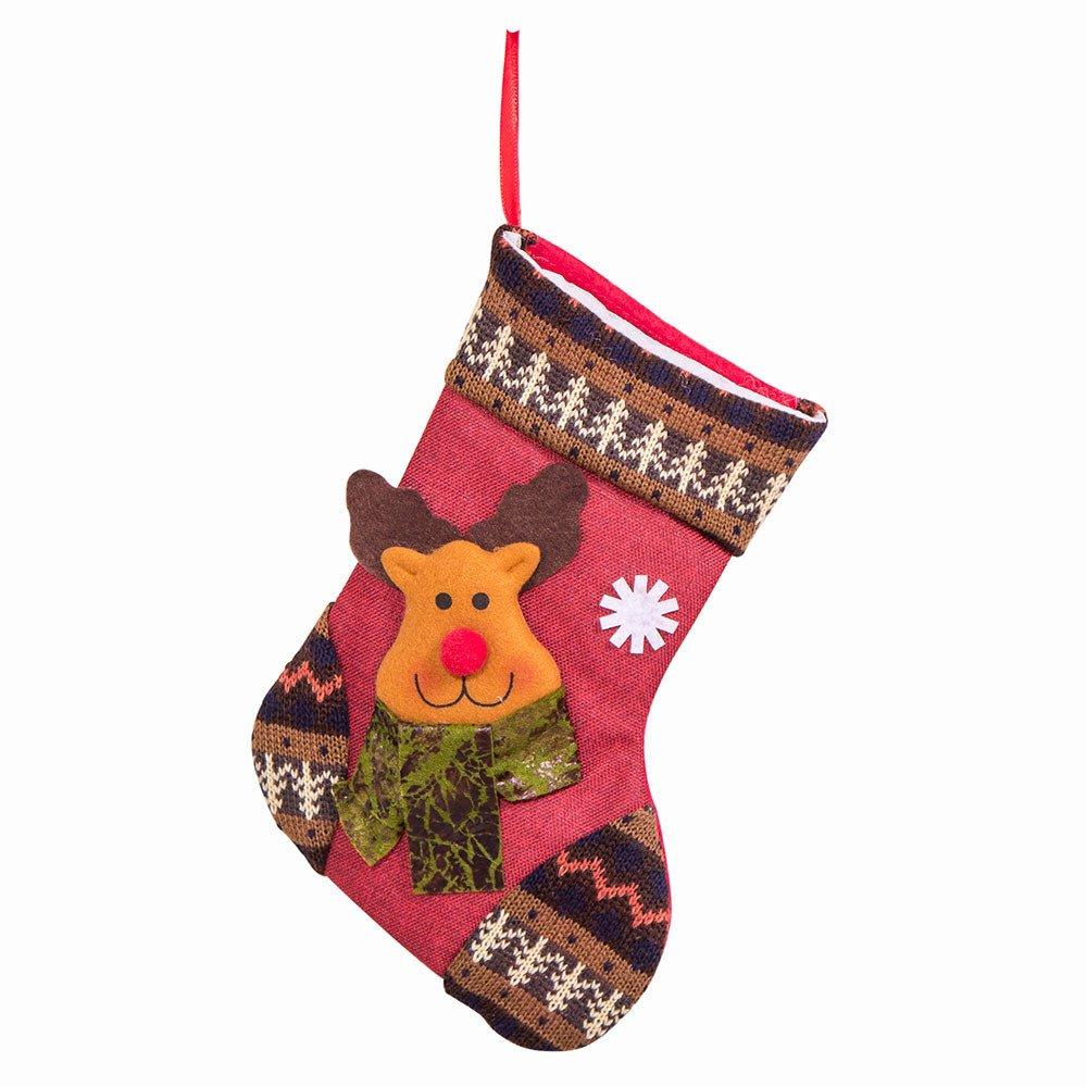 Christmas Stockings Bag Santa Snowman Cute Santa Claus Reindeer Xmas Character 3D Hanging Gift Candy Socks Gift Stocking Bag Decoration Holiday Home Party (C)