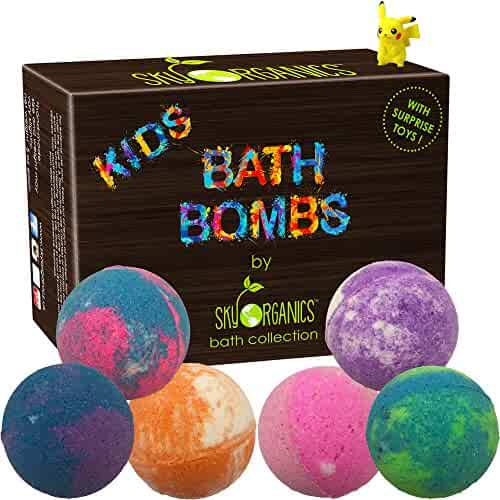 Kids Bath Bombs Gift Set with Surprise Toys, 6x5oz Fun Assorted Colored XL Bath Bombs, Kid Safe, Gender Neutral with Organic Essential Oils –Handmade in the USA Organic Bubble Bath Fizzy