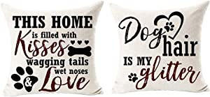 Best Dog Lover Gifts Dog Hair Is My Glitter This Home Is Filled With Kisses Cotton Linen Throw Pillow Case Cushion Cover NEW Home Decorative For Sofa Couch Living Room Square 20 X 20 Inches¡