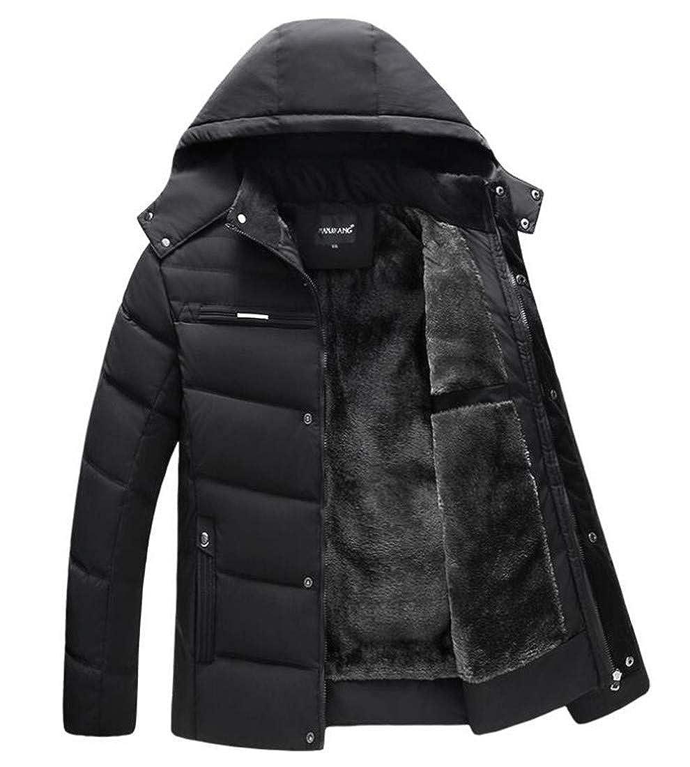 Hajotrawa Men Coat Jacket Classic Cotton-Padded Fleece Quilted Parkas Coats