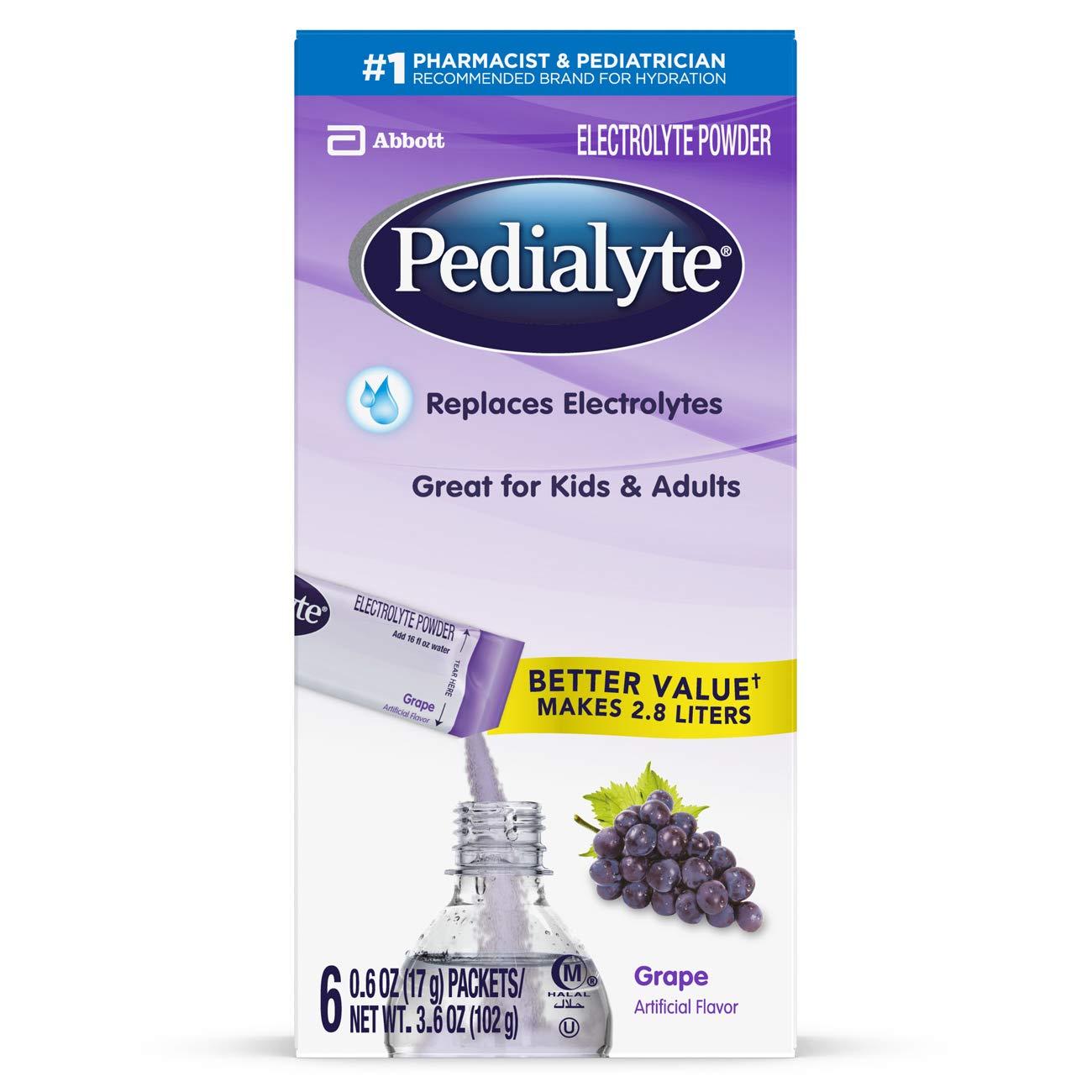 Pedialyte Electrolyte Powder, Grape, Electrolyte Hydration Drink, 0.6 oz Powder Packs, 6 Count