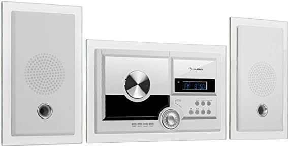 auna Stereosonic Stereo System - Equipo estéreo , Compacto , Montaje en la Pared , Reproductor de CD , USB , Bluetooth , AUX , Mando a Distancia , Blanco