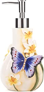 FORLONG Dancing Butterfly Ceramic Soap Dispenser, Lotion Dispenser Bathroom Accessories