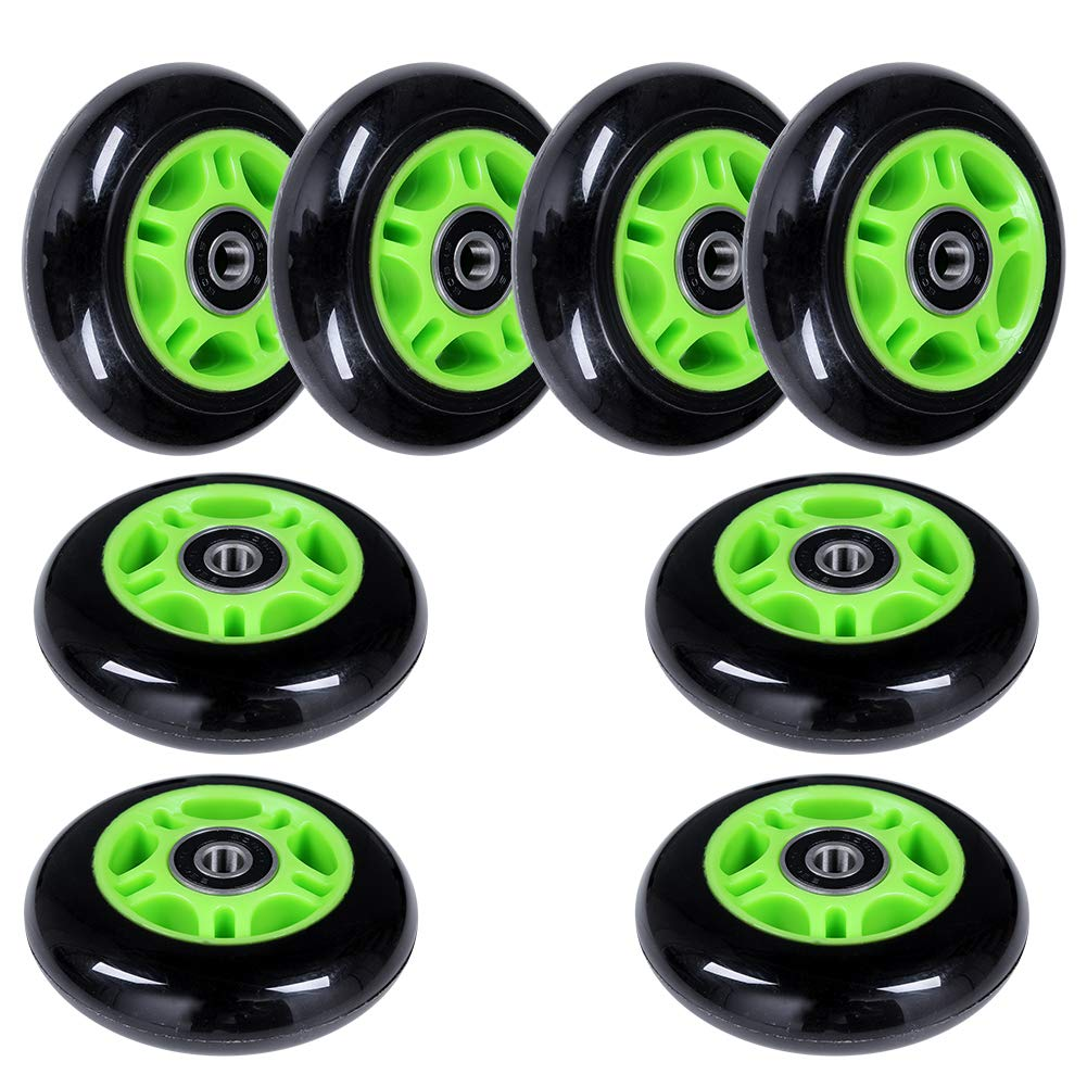 AOWISH 8-Pack 80mm Inline Skate Wheels 85A Inline Skates Replacement Wheel with Bearings ABEC-9 (Green Hub Black Wheel) by AOWISH