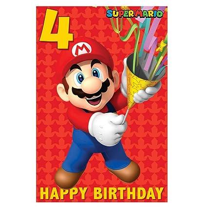 Super Mario 4º Tarjeta Cumpleaños: Amazon.es: Oficina y ...