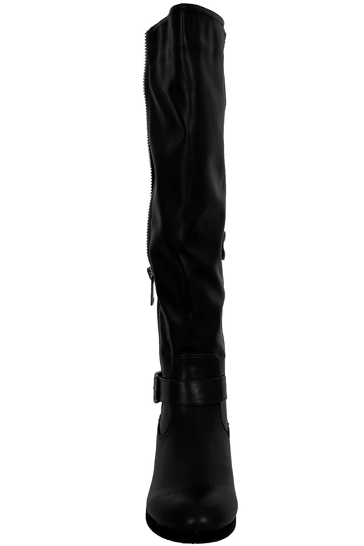 Saphir Boutique Damen Damen Damen Kunstleder Reißverschluss Schnalle Detail Elastic Low Ferse kniehohe Stiefel 74319a