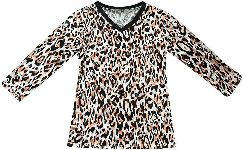 jin&Co Womens T Shirts 3//4 Sleeve Plus Size Crewneck Tops Leopard Print Sweatshirts Pullover