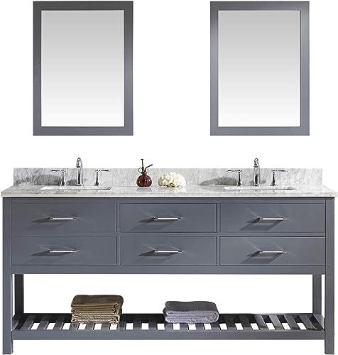 Virtu USA Caroline Estate 72 inch Double Sink Bathroom Vanity Set