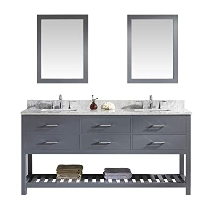 Marvelous Virtu Usa Caroline Estate 72 Inch Double Sink Bathroom Vanity Set In Grey W Square Undermount Sink Italian Carrara White Marble Countertop No Home Interior And Landscaping Ologienasavecom