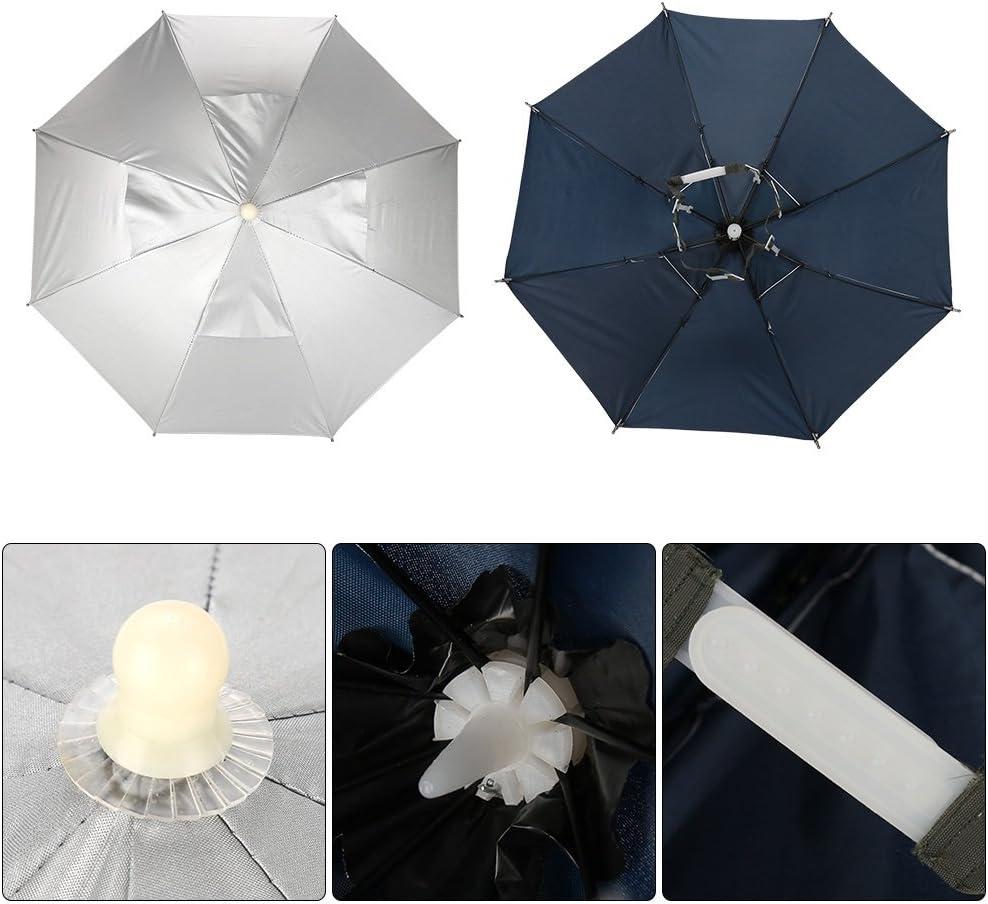 DEWIN Regenschirm-Hut Handfree Regenschirm-Kappen-Fischen-Hut im Freien wasserdichter UVschutz leicht