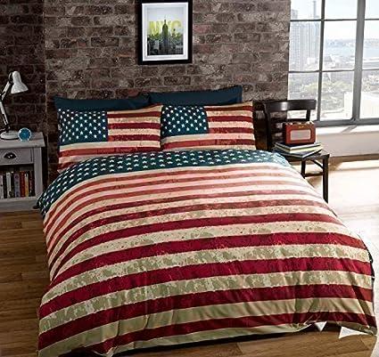 Piumone Singolo Bandiera Inglese.Copri Piumone Singolo Bandiera Americana Usa Di Cotone Blu Reversibile