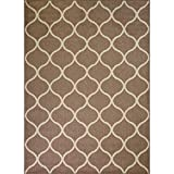 Area Rugs, Maples Rugs [Made in USA][Rebecca] 7' x 10' Non Slip Padded Large Rug for Living Room, Bedroom, and Dining Room - Café Brown/White