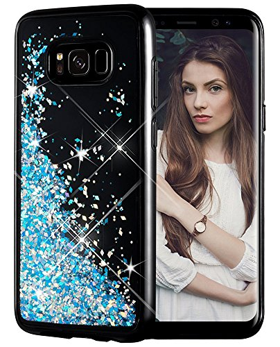 Galaxy S8 Case, Caka Galaxy S8 Glitter Case [Starry Night Series] Luxury Fashion Bling Flowing Liquid Floating Sparkle Glitter Girly TPU Bumper Case for Samsung Galaxy S8 - (Blue)