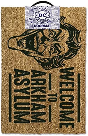 1art1 Batman Door Mat Floor Mat – The Joker, Welcome to Arkham Asylum 24 x 16 inches