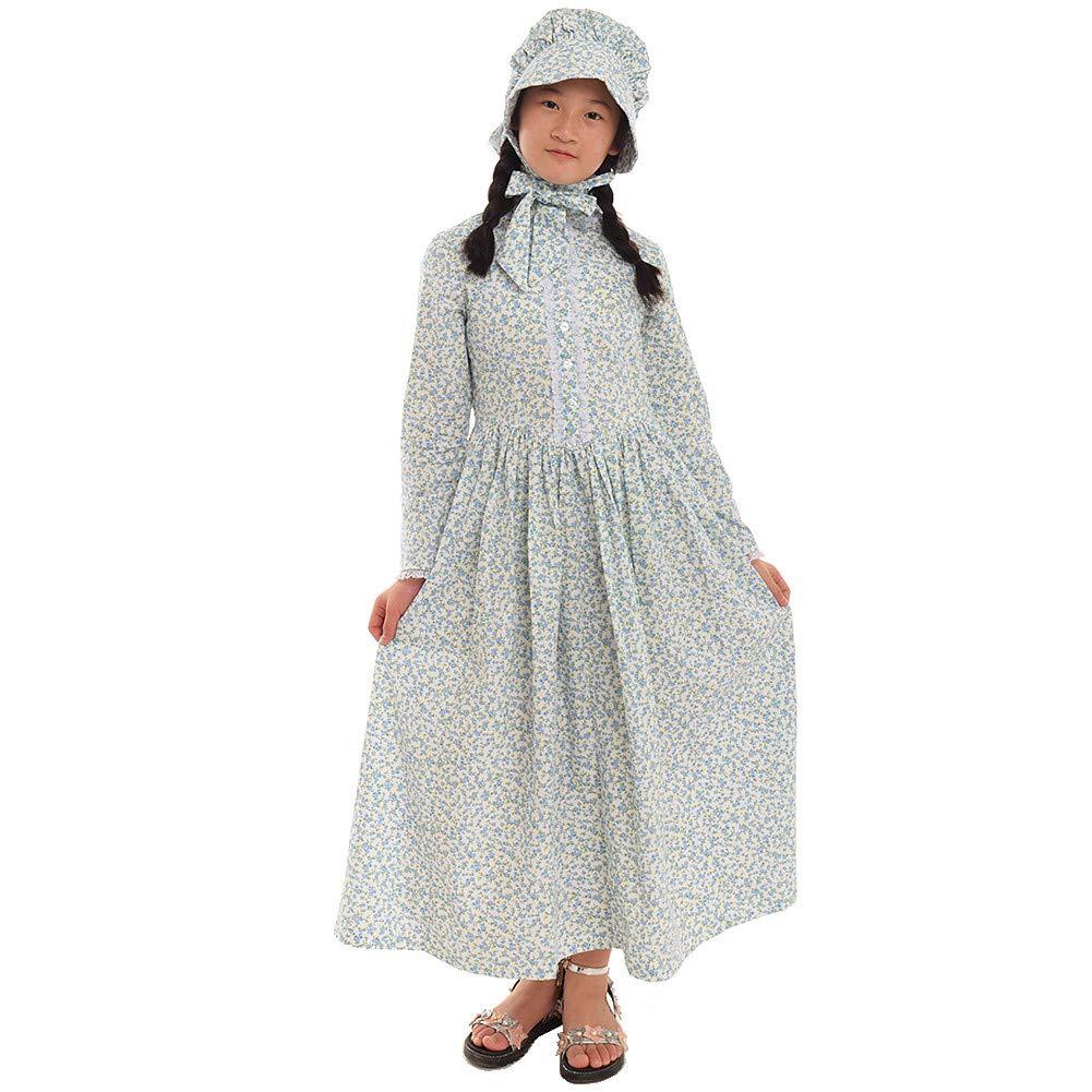 GRACEART Reenactment Pioneer Prairie Colonial Girl Costume 100% Cotton