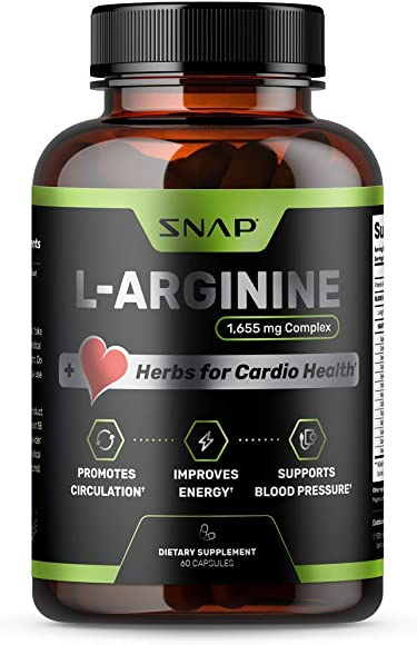 Extra Strength L Arginine Nitric Oxide Supplement 1655mg for Instant Energy, Heart Health, Muscle Vascularity – Powerful NO Booster with L Citrulline Amino Acids – 60 Capsules
