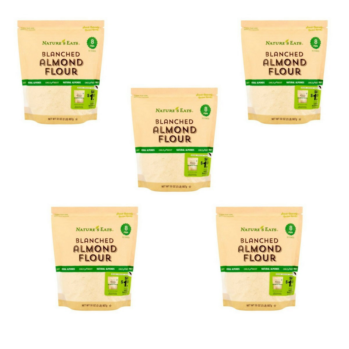 Nature's Eats Blanched Almond Flour, 32 Ounce(Pack of 5)