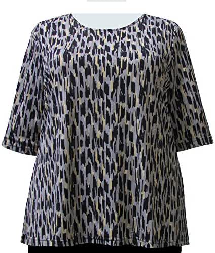 A Personal Touch Women's Plus Size Grey Brushstrokes Round Neck Top