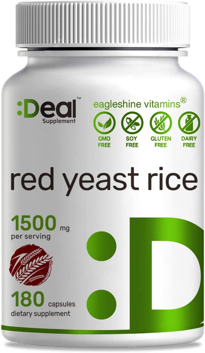 Deal Supplement Red Yeast Rice 1500 mg Capsules, 180 Count,Maximum Support Cardiovascular Health, Blood Circulation and Lower Cholesterol
