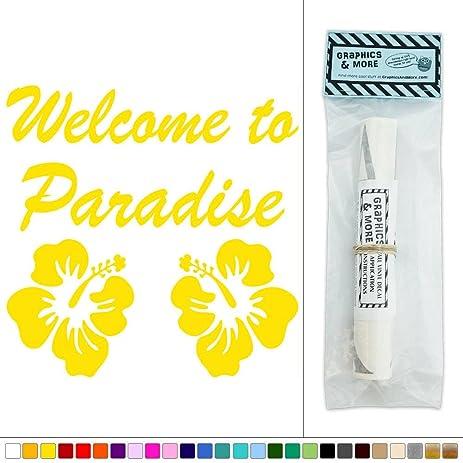 Amazon.com: Welcome to Paradise Hibiscus Hawaii Tropical Vinyl ...