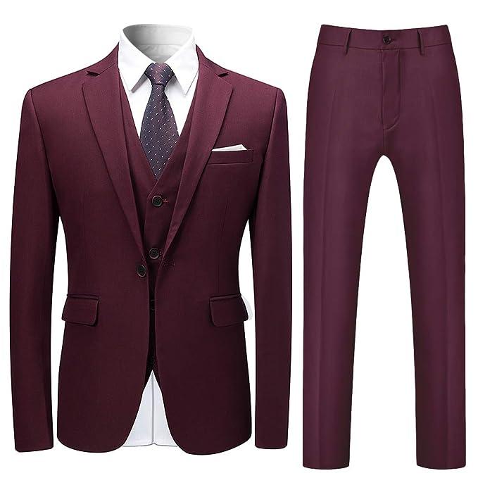 70ba77625 Trajes para Hombre Traje de Esmoquin de Boda Slim Fit de 3 Piezas para  Hombres Un botón Traje Formal Chaqueta Blazer Chalecos Pantalones   Amazon.es  Ropa y ...