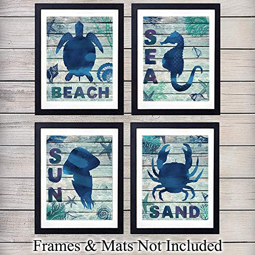 Beach, Sea, Sun and Sand Wall Art Prints - Set of Four - Unframed Photos of Wood Sign - Perfect Affordable Gift - Chic Home Decor for Beach House - -