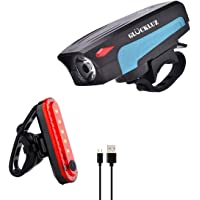Gluckluz Bicycle Light Set Bike Headlight with Horn & Taillight Waterproof Front Rear Light for Mountain Bicycle Cycling…
