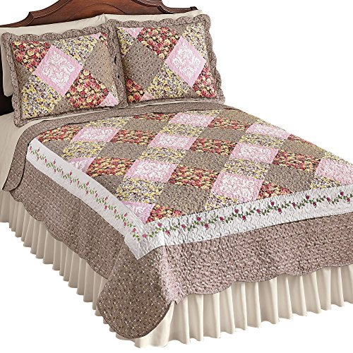 Collections Etc Clara Reversible Floral Patchwork Quilt, Diamond Patches with Quilted Stitching, Twin