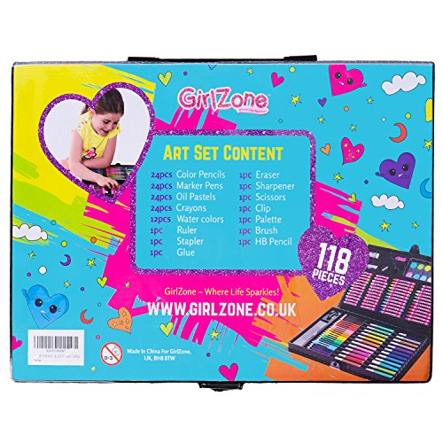 Gifts for girls 114 piece art set with carry case for Arts and crafts gifts for 7 year olds