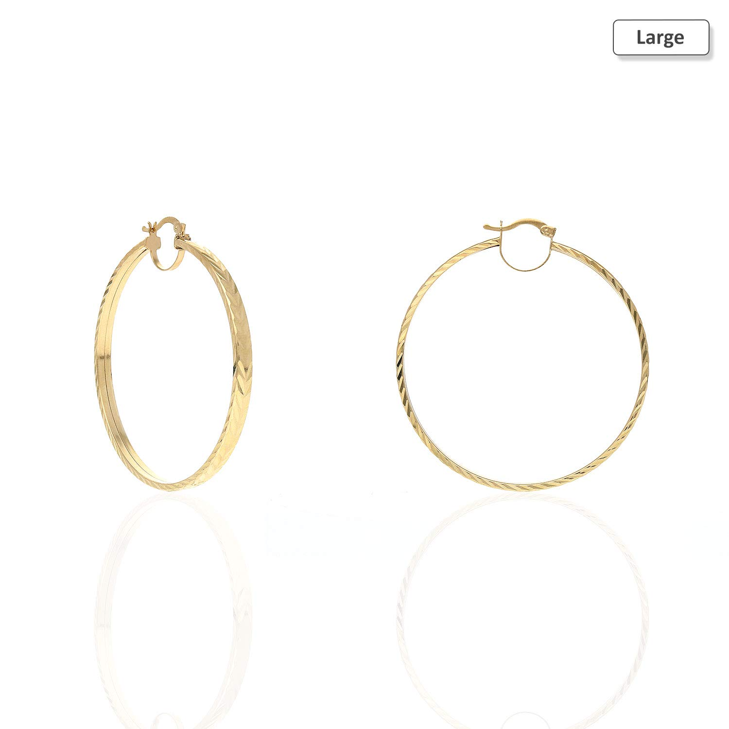 Large 14K Yellow Gold Flat Tube Diamond Cut Hoop Earrings 35mm 46mm 51mm