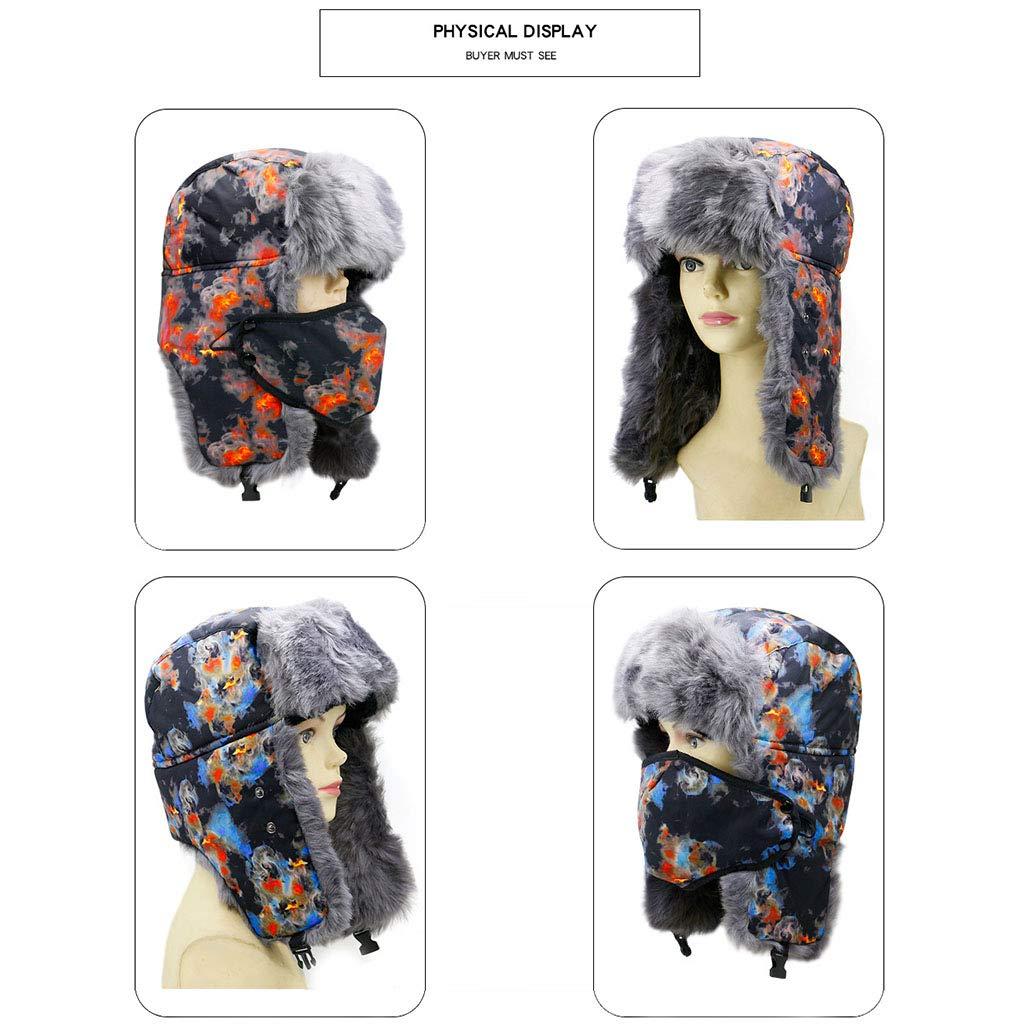 ChSe Hat Invierno Cálido Ciclismo Sombrero Unisex Sombrero frío Ciclismo Cálido al Aire Libre y frío Sombrero de Copa Plano y Grueso,B,OneSize 905e3a