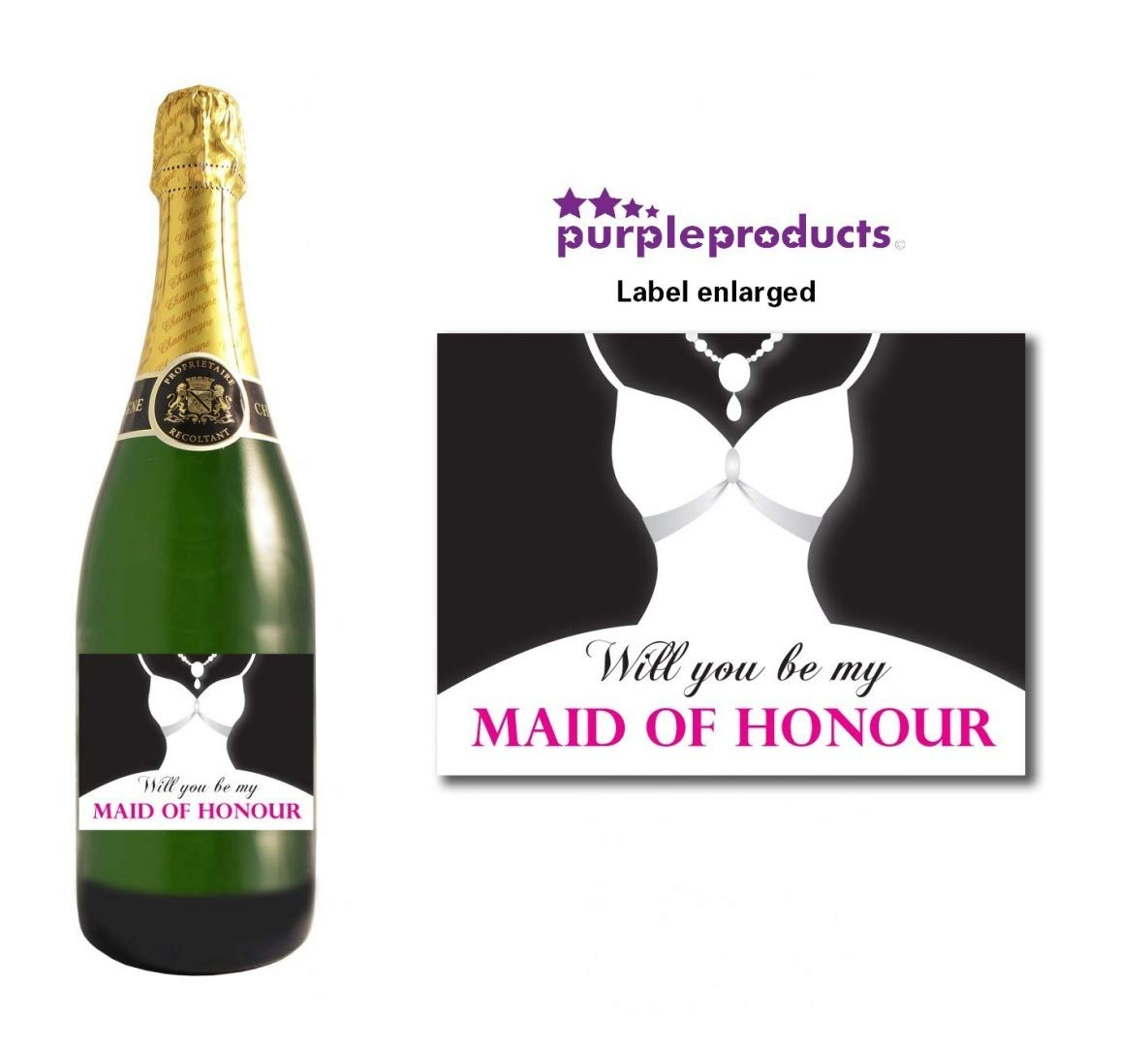 WILL YOU BE MY MAID OF HONOUR WEDDING DAY WINE BOTTLE LABEL GIFT