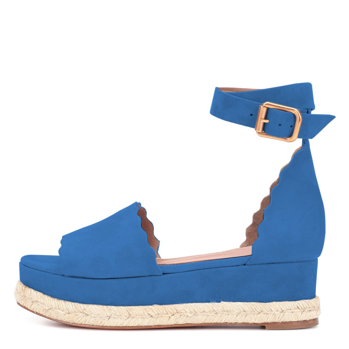 YDN Women Espadrille Peep Toe Ankle Straps Wedge Sandals Low Heels Platform Shoes with Buckle B07DCNB4MZ 14 M US|Blue