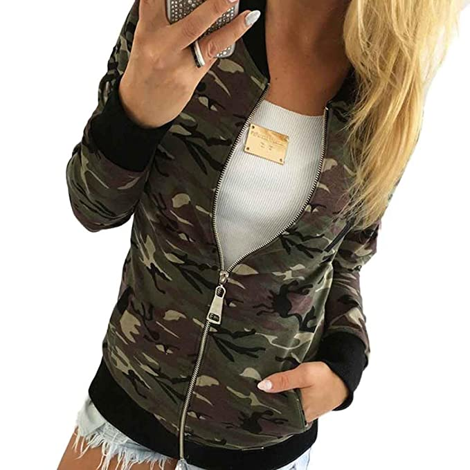 Mujer Ejército Camuflaje Chaqueta, Vovotrade Cremallera Camisa Blusa Suéter Otoño Invierno Calle Estilo Algodón Chaqueta