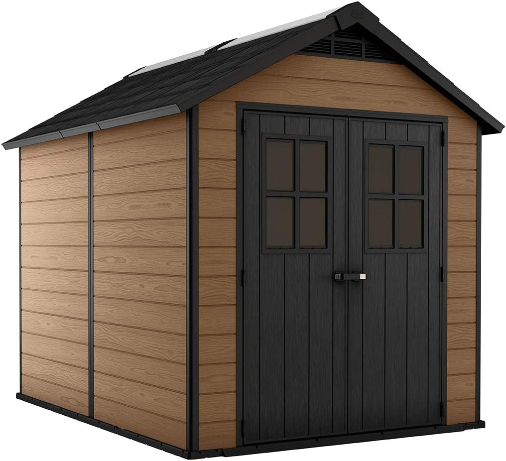 KETER Newton 7.5×9 Large Resin Outdoor Storage Shed Kit Perfect to Store Patio Furniture, Garden Tools, Bike Accessories, and Lawn Mower, Mahogany Brown