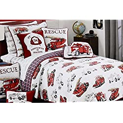 Vintage FIRE ENGINE / FIRE TRUCK Quilt Set - reversible TWIN SIZE (set includes Quilt, sham & accent pillow)