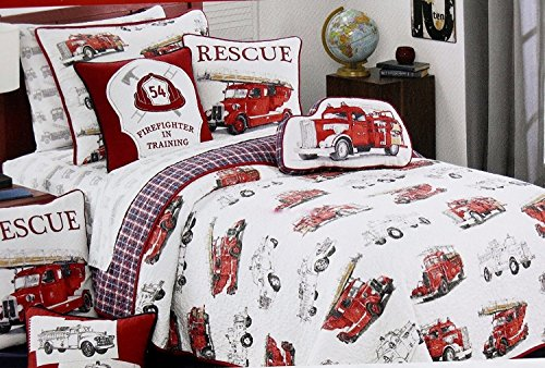 Vintage FIRE ENGINE / FIRE TRUCK Quilt Set (includes Fire truck shaped pillow pictured on bed) - reversible Full /Queen Quilt Set (set includes 2 shams & pillow) (Vintage Fire Engine)