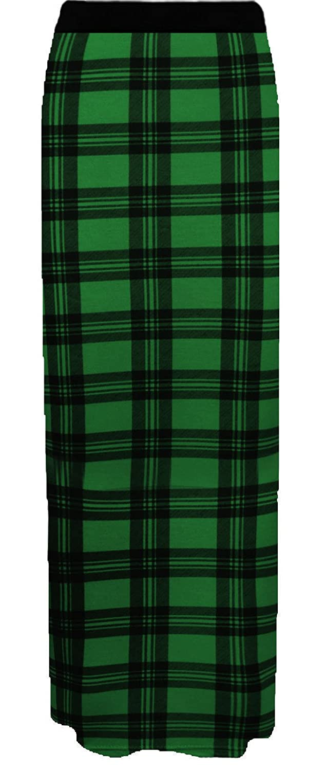 R KON WOMEN'S LONG GYPSY TARTAN PRINT LADIES JERSY MAXI SKIRT