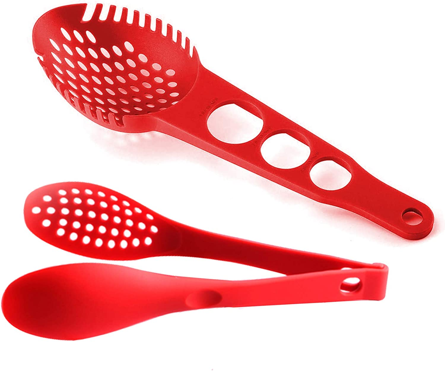 Silicone spaghetti spoon with measuring tape and multifunctional silicone food tongs snack tongs meatball tongs-small tools for kitchen