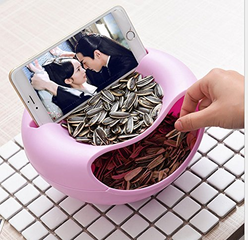 Double Dish Smiley Nut Bowl,Creative Pistachios Shell Melon Seeds Nut Bowl Table Candy Snacks Dry Fruit Holder Storage Box Plate Dish Tray With Mobile Phone Stents Eversalute