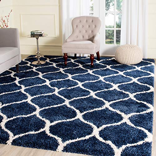 Safavieh Hudson Shag Collection SGH280C Navy and Ivory Moroccan Ogee Plush Area Rug (9' x 12') ()
