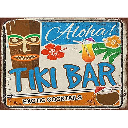 Florlife Tin Signs Aloha Tiki Bar Exotic Cocktails Signs for Bar Pub Room Decor Wall Art 20x30 cm