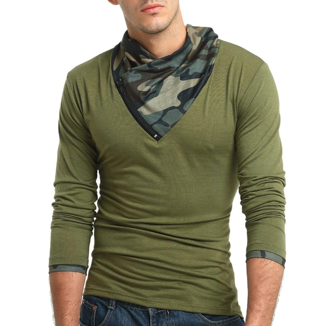ErYao Men's Autumn Camouflage Long Sleeved Pullover Zipper Sweatshirts Top Blouse (Army Green, M)
