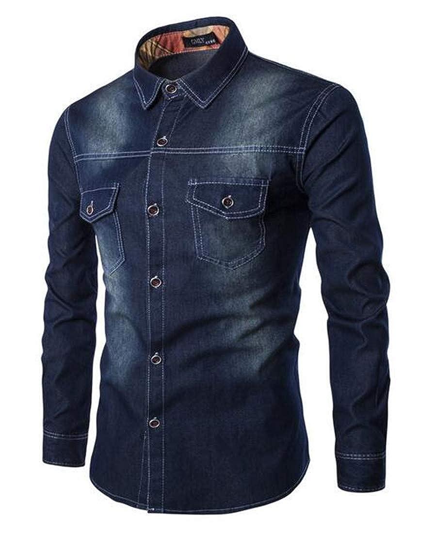 BYWX Men Vintage Washed Over Sized Button Up Long Sleeve Pockets Denim Shirt